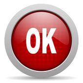Ok red circle web glossy icon — Stock Photo