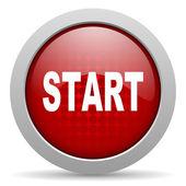Start red circle web glossy icon — Stock Photo