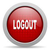 Logout red circle web glossy icon — Stock Photo