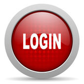 Login red circle web glossy icon — Stock Photo