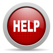 Help red circle web glossy icon — Stock Photo