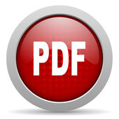 Pdf red circle web glossy icon — 图库照片