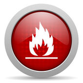 Flames red circle web glossy icon — Stock Photo