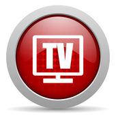 Icono brillante de tv círculo rojo web — Foto de Stock