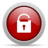блестящий значок замка красный круг веб — Стоковое фото