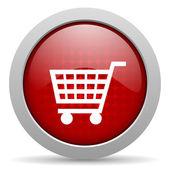 Shopping red circle web glossy icon — Stock Photo