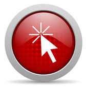Click here red circle web glossy icon — Stock Photo