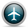Plane glossy icon — Stock Photo