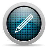 Pencil glossy icon — Stock Photo