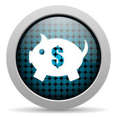 Piggy bank glossy icon — Stock Photo