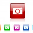 Camera square web glossy icons set — Stock Photo #25216227