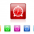 Alarm clock square web glossy icons set — 图库照片
