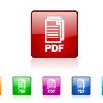 Pdf square web glossy icons set — Stock Photo #25216293