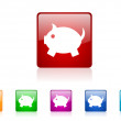 Piggy bank square web glossy icons set — Stock Photo #25216353