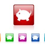 Piggy bank square web glossy icons set — Stock Photo