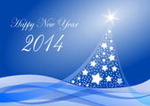 2014 new years illustration with christmas tree — Stock Photo
