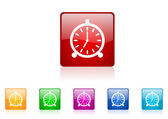 Alarm clock square web glossy icons set — Stock Photo