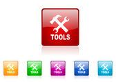 Tools square web glossy icons set — Stock Photo