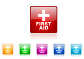 First aid square web glossy icon colorful set — Stock Photo