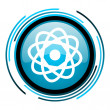 Stock Photo: Atom blue circle glossy icon