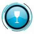 Glass blue circle glossy icon - Stock Photo