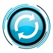 Reload blue circle glossy icon - Stock Photo