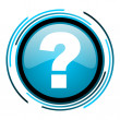Question mark blue circle glossy icon - Stock Photo