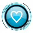 Stock Photo: Heart blue circle glossy icon