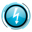 Stock Photo: Lightning blue circle glossy icon