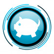 Stock Photo: Piggy bank blue circle glossy icon