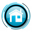 Home blue circle glossy icon — Stockfoto