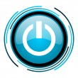 Power blue circle glossy icon - Stock Photo