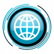 Earth blue circle glossy icon - Stock Photo