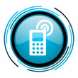 Cellphone blue circle glossy icon — Stock Photo #25593419