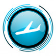 Plane blue circle glossy icon — Stock Photo #25593613