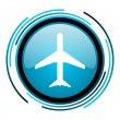 Plane blue circle glossy icon — Stock Photo
