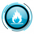 Flames blue circle glossy icon — Stock Photo #25594743