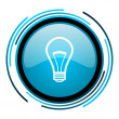 Royalty-Free Stock Photo: Light bulb blue circle glossy icon