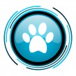 Stock Photo: Animal footprint blue circle glossy icon