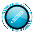 Stock Photo: Pencil blue circle glossy icon