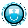 Stock Photo: Nurse blue circle glossy icon