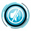 Mute blue circle glossy icon — Stock Photo #25595619