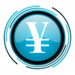 Yen blue circle glossy icon - Stock Photo