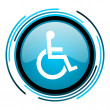 Accessibility blue circle glossy icon — Stock Photo #25595795