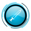 Syringe blue circle glossy icon - Foto Stock