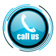 Stock Photo: Call us blue circle glossy icon
