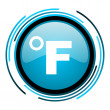 Stock Photo: Fahrenheit blue circle glossy icon