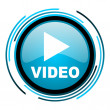 Stock Photo: Video blue circle glossy icon