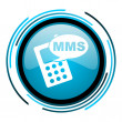Mms blue circle glossy icon — Foto de stock #25596581