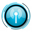 Stock Photo: Wifi blue circle glossy icon